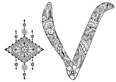 буква V оформлен в стиле Менди