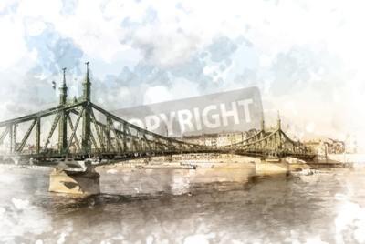 Картина Мост Свободы в Будапеште, Венгрия. Туристический объект фотографии с sityscape и реки.