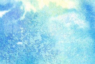 Картина Свет абстрактный синий окрашены акварель брызги и облака, небо