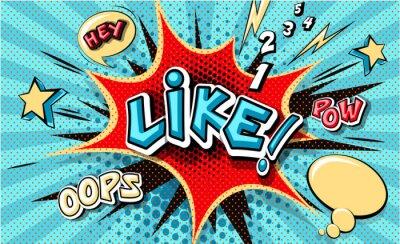 Картина Like. Pop art cloud bubble. Funny speech bubble. Trendy Colorful retro vintage background in popart retro comic style. Illustration easy editable for Your design. Explosion comic cartoon effect.