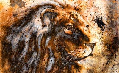 Картина лев коллаж на цветной абстрактный фон структуры, ржавчины,