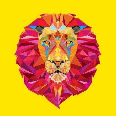 Картина Львиная голова в геометрическим рисунком