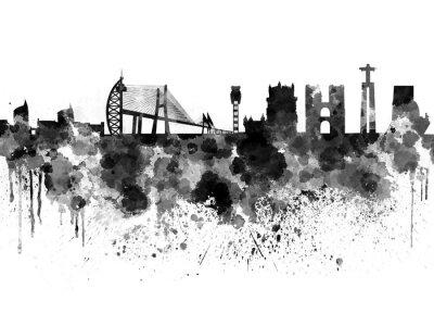 Картина Лиссабон горизонта в черном фоне акварель