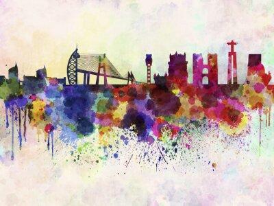 Картина Лиссабон горизонта в фоне акварель