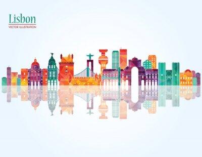 Картина Лиссабон горизонта. Векторная иллюстрация