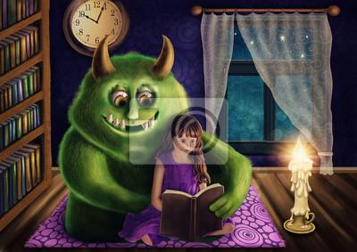Маленькая девочка и зеленый монстр