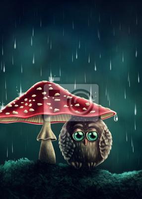 Маленькая сова под грибами