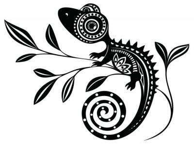 Картина Ящерица на branch.pattern. Chameleon.tattoo.