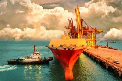 Картина Логистика и перевозка международного контейнерного грузового судна с портовым краном-мостом в гавани и вечернем небе для логистического экспорта и транспорта.