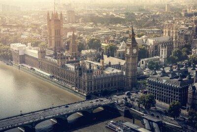 Картина город Лондон с высоты птичьего полета