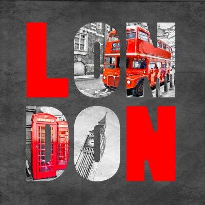 Картина Лондон письма с изображениями на черном фоне