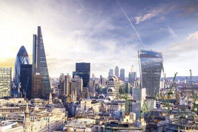 Картина Лондон закат, смотреть на современном деловом районе