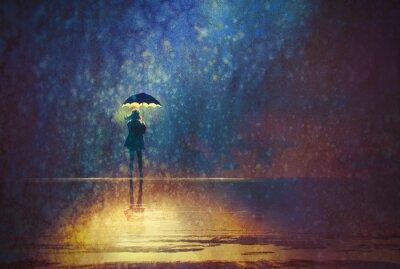 Картина одинокая женщина под зонтиком огни в темноте, цифровой живописи