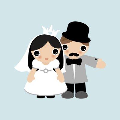 Любовь и брак сладкий жених и невеста пара свадебные иллюстрации kawaii