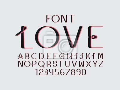Love font. Vector alphabet