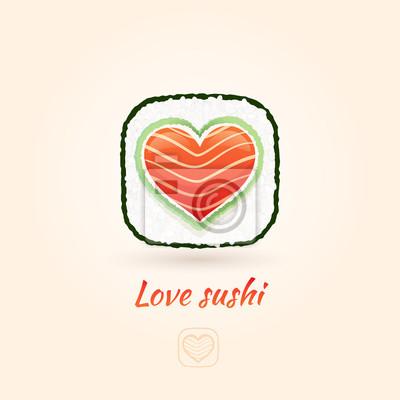 Любовь значок суши