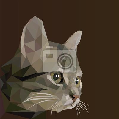 Низкий поли дизайн. Абстрактные векторные иллюстрации, низкий стиль поли. Стилизованный элемент дизайна. Дизайн логотипа с котенком. Многоугольная коричневый кот иллюстрации.
