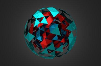 Картина Низкий Поли металлический шар с хаотической структурой.