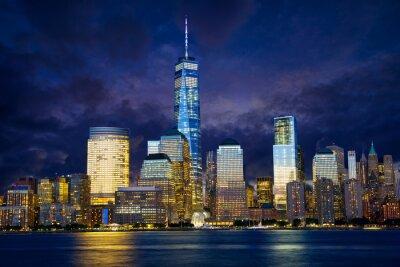 Картина Нижнего Манхэттена горизонты в сумерках, Нью-Йорк