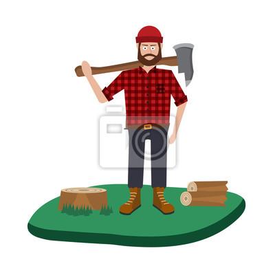 Дровосек векторный набор иконок. Коллекция Lumberjack тематических символов, Дровосек набор, дерева и инструментов. Векторные иллюстрации eps10.