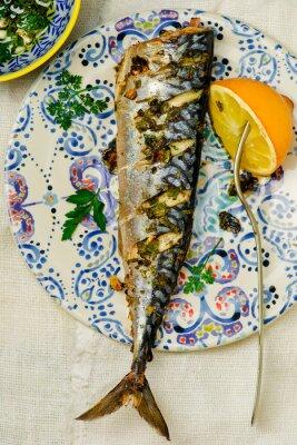 Картина Скумбрия - гриль с лимоном и соусом