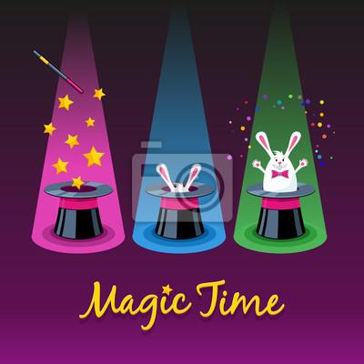 Магия времени. Три векторные иконки волшебную шляпу, палочки и белый рабб