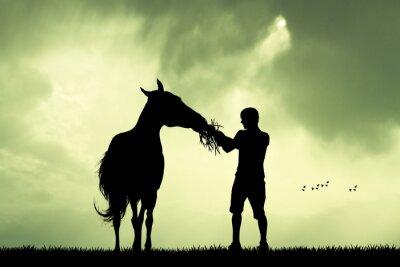 Картина Человек и лошадь на закате
