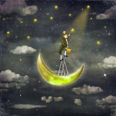 Картина Человек рисует звезды на вершине высокой лестницы в темном небе