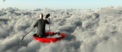 Картина Человек грести сквозь облака в перевернутом зонтик