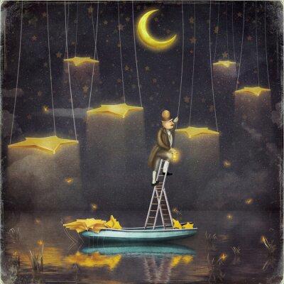 Картина Человек тянется к звездам на вершине высокой лестницы