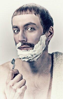 Картина человек бритья