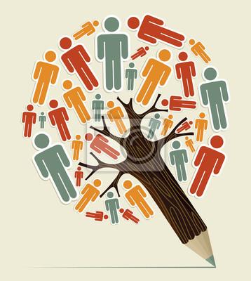 Человек знак концепция карандаш дерево
