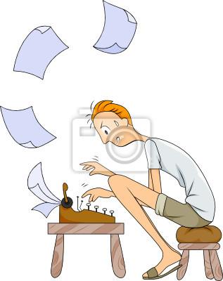 Человек с помощью Пишущая машинка