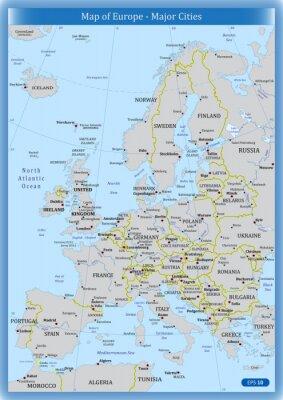 Картина Карта Европы - Крупные города
