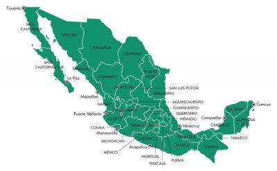 Картина Карта Мексики с государствами и городами