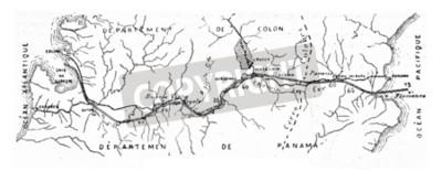Картина Карта Панамского канала, старинная выгравированная иллюстрация. Промышленная энциклопедия E.-O. Лами - 1875 год.
