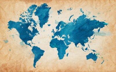 Картина карта мира с текстурированной фоне акварель пятен