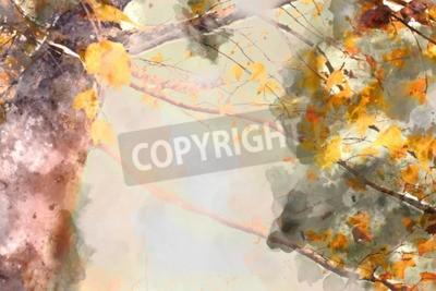 Картина Maple tree in autumn season, watercolor background