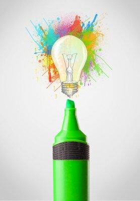 Картина Маркер крупным планом с цветными краски брызг и лампочки