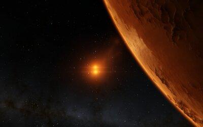 Картина Марс научно иллюстрация - планетарная пейзаж