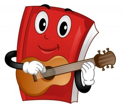 Mascot Book Music Guitar Illustration