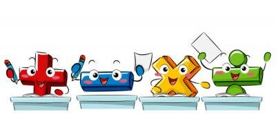 Mascot Math Operators Class Illustration