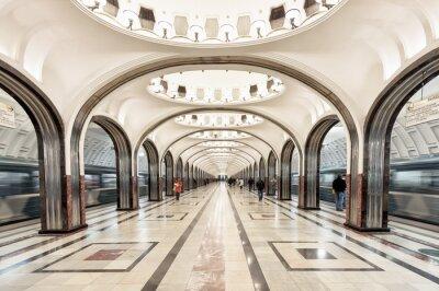 Картина Станция метро Маяковская в Москве, Россия