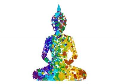 Картина Размышляя Будда поза в цветах радуги