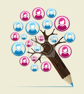 Пользователь Пользователь концепция карандаш дерево