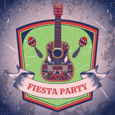 Картина Мексиканская Фиеста партия этикетка с маракасы и мексиканской гитара .Hand обращается векторные иллюстрации плакат с гранж фоном. Объявления или поздравительной открытки Шаблон