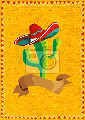 Мексиканская кактус питания по гранж фон