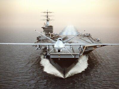 Картина Военный беспилотный летательный аппарат запуска с самолета-носителя на ударной миссии. 3D-рендеринг