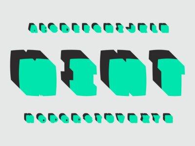 Mint font. Vector alphabet