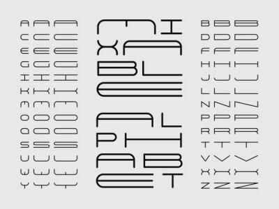 Mix font. Vector alphabet
